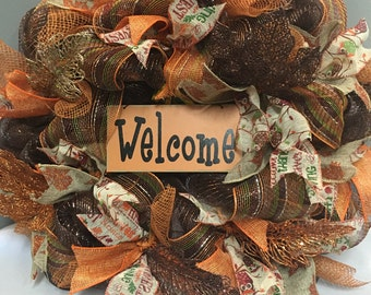 Fall Wreath, Fall wreaths for front door,Front door decoration, Thanksgiving wreath, Welcome sign,Fall Decor, Autumn wreath