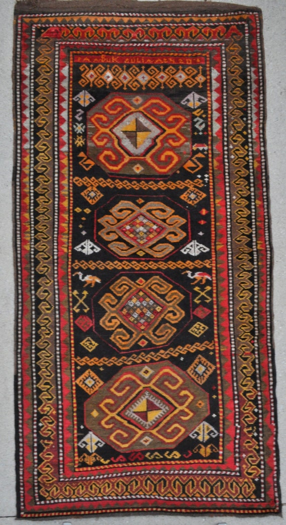 Tribal Turkish Vintage rug - 3'9 x 7'7 - 115 x 230 cm. - Free shipping!