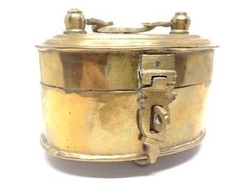 Beautiful Vintage Estate Small Brass Trinket Box Signed India