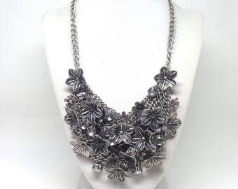 Vintage Estate Rhinestone Different Flowers Silver Tone Necklace