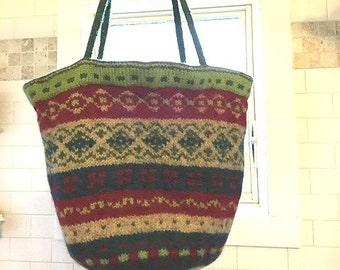 Felted Wool Fair Isle Folk Art  Shouder Bag/Tote in Multi Colors in Red/Green/Navy/Tan