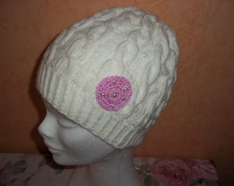 knitted white Beanie, hat for kids or adults