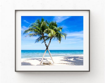Palm Tree print, Tropical Palm Tree Print, Florida Coastal Print, Beach print, Printable Beach Art, Palm Trees Poster