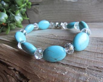 Turquoise Howlite with Swarovski Crystals Bracelet