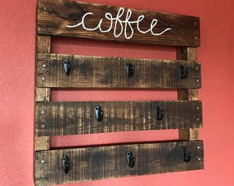 Coffee Mug Rack, cursive