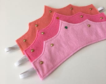 Pink Felt pretend play crown with jewel / faux gold studs