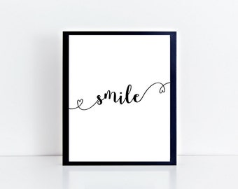 Smile Wall Art , Love , Motivational Print , Typography Print , Floral , A4 Wall Art , Digital Art , Valentines Day