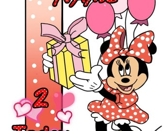 Minnie mouse birthday card available for personalisation