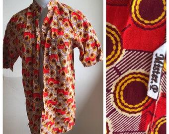 Vintage 70s Abstract Psychedelic Shirt | Burnt Orange Shirt Retro 70s Burnout Shirt | Hipster Shirt | That 70s Show Wardrobe Hippie Shirt