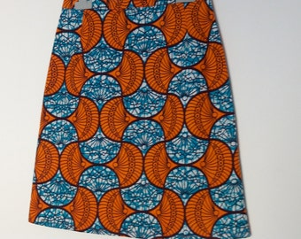 Turquoise and orange wax flared skirt