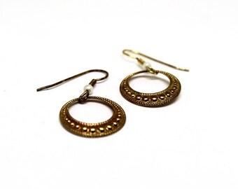 VTG Gold Hoop Dangle Earrings