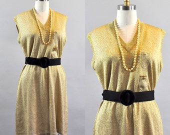 Vintage 1960s Gold Glitter Shift Dress. Gold Glitter Sleeveless Dress. V-neck Shift Dress. Gold Sparkle Shift Dress. Gold Metallic Dress
