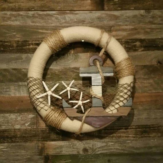 Nautical Rope Decor Items: Unique Nautical Yarn And Rope Wreath Nautical Decor Nautical