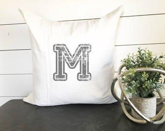 Custom Letter Pillow Cover, Initial Pillow Cover, Last Name Pillow Cover, Sports Pillow Cover, Vintage Pillow, Custom Pillow Cover, Gift