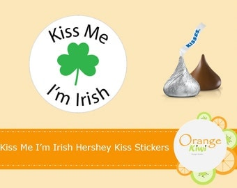 Kiss Me I'm Irish Hershey Kiss Stickers, St Patrick's Day Shamrock Kiss Candy Stickers, St Patty's Day Party Favors