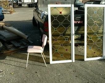 Pair of of ultimate mid century modern stain glass windows/pannels/doors