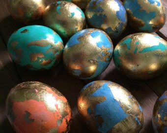 Set of 13 Gold Leafed Multicolored Easter Eggs