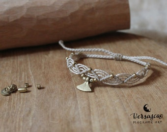 Macrame bracelet 'Esmeralda' light beige/white grey