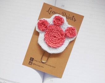 Crochet Animal Paw Jumbo Planner Clip / Bookmark - White and Pink | Stationery for Erin Condren, Filofax, Kikki K