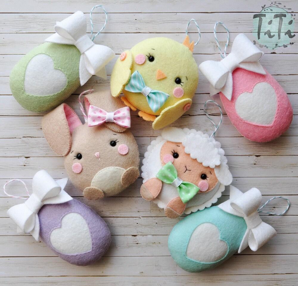 Pascua linda fieltro adornos juego de 7 decoraci n de pascua for Adornos de pascua