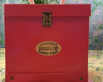 Vintage 45 RPM Record Carrying Case, Red with White Handle