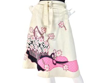 Vintage Clothing, 70s Wrap Skirt XS S, Kawaii Skirt, Boho Skirt, Summer Skirt, 70s Floral Skirt, Festival Skirt, High Waist Skirt, SIZE XS S