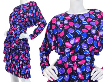 Vintage Clothing, Floral Print Dress S, 80s Frilly Dress, 80s Ruffle Dress, Long Dolman Sleeves, Silk Dress, St Gillian Silks, SIZE S 4 6