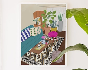 Home Series 1 , home, living room, interior, place, illustration, art