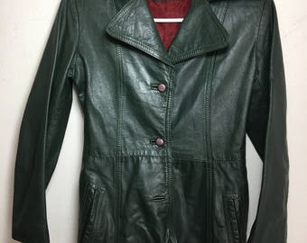 Real spring jacket made from leather stylish jacket vintage style long jacket modern jacket casual style women's dark green color size-S-XS.
