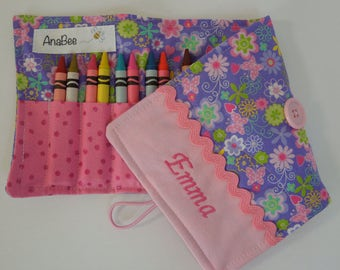 Personalized Crayon Roll - Lavender flowers and butterflies, crayons INCLUDED, Crayon roll-up, 12+ crayons