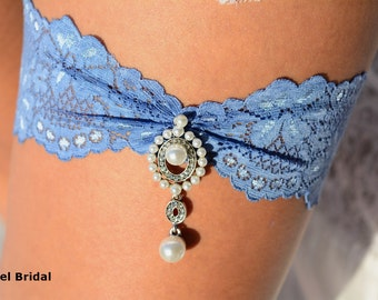 Wedding Garter Blue, Rhinestone Garter, Wedding Garte Lace, Blue Bridal Garter, Garter Blue, lingerie Garter, Somethig Blue, Pearl Garter