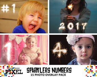 SPARKLERS NUMBERS Overlays, sparklers overlays, sparklers overlay, photoshop overlays, photoshop overlay, numbers, birthday overlays