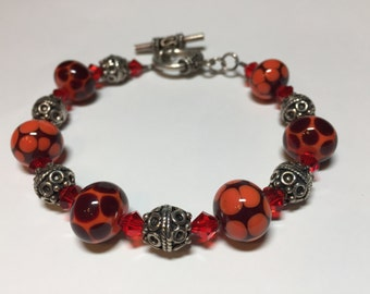Autumn Lampwork Bead and Sterling Silver Bracelet