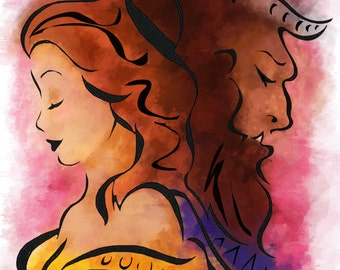 Stained Glass // Beauty and the Beast // Romantic artwork // Great Gift // Belle // Disney Artwork //