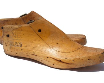 Wooden shoes form wooden shoe lasts wooden shoe mold shoemaker forms cobbler molds women lasts  rustic pair of 2/002