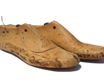 Wooden shoes form wooden shoe lasts wooden shoe mold shoemaker forms cobbler molds  rustic pair of 2/012
