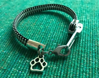 Zipper Bracelet with Paw Charm