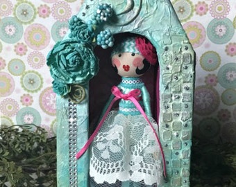 Clothespin Doll, Wood Doll, Peg Doll, Clothespin Doll in Box