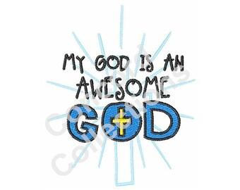 God Crucifix Machine Embroidery Design