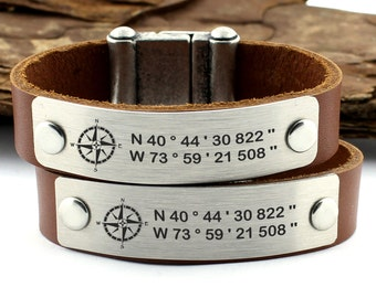 Couple Coordinate Bracelets, Latitude Longitude, GPS Bracelet, Personalized Leather Bracelet, Matching Bracelet, His Her Bracelet, Gift Idea