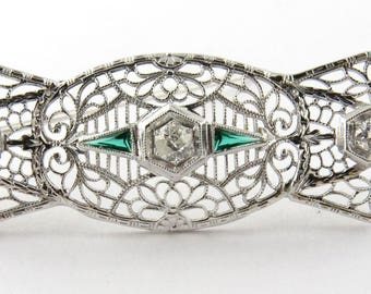 Antique 14K White Gold Art Deco Diamond and Emerald Filigree Brooch Pin #377
