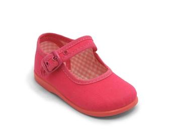 Fuchsia Mary Janes shoes, Fuchsia canvas shoes, Fuchsia girl shoes