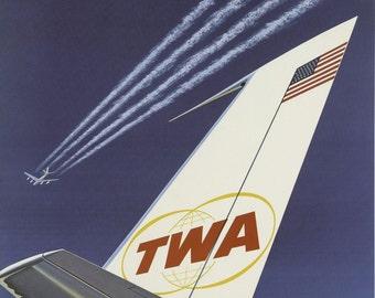 Vintage TWA StarStream Airline Travel Poster Print