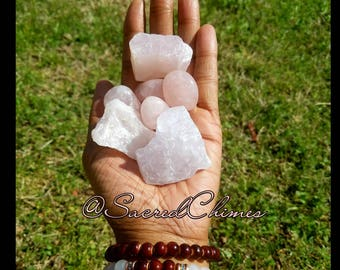 Medium Raw and Tumbled Rose Quartz Crystal Chunk Mineral Natural Crystal Grid
