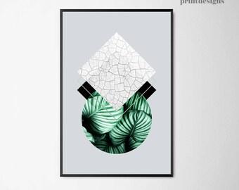 Scandinavian Print, Modern Art, Geometric Print, Scandinavian Poster, Green Gray Poster, Minimalist Print, Modern Poster, Instant Download