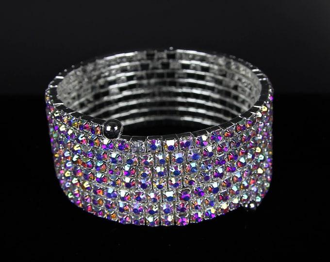 Zoe 8 Row AB Crystal Spiral OPA & NPC Bikini Fitness Competition Bracelet