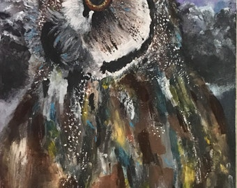 Original owl painting one of a kind piece