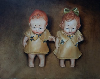 Small Couple of Dolls oil exhibition painting, Dolls couple concept art painting, concept art in USA, dolls art, dolls lover painting