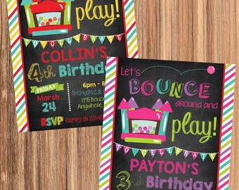 BOY or GIRL Bounce House Invitation! Let's Bounce Around and Play! Digital File. Print at Home.