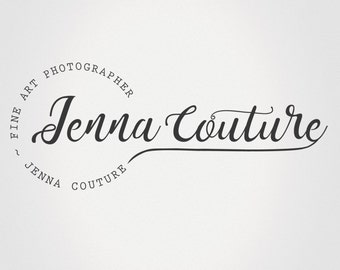 Beautiful elegant full name photography Logo and matching Watermark brush, Premade Logo Design